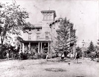 The Orrin Benedict Mansion c. 1890                                                                                                                                                Orrin Benedict (1817-1901) was the wealthiest and most influential hatter in Bethel's history. This elaborate Italianate style villa occupied a hillside behind today's Sycamore Restaurant. Benedict's hat factory was located where Burger King and the Bethel Cinema now stand. For a short time after Benedict's death, this house served as the Pine Tree Inn and was later demolished in 1947, to make way for the restaurant and shopping center.