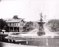 The Barnum Fountain c.1905                                                                                                                                                        In 1881, Bethel's most famous son, P.T. Barnum, presented his birthplace with a tremendous 18 foot high fountain depicting a triton blowing a conch shell. Barnum had purchased the fountain in Berlin, Germany for $7,000 and had it transported to his Bridgeport mansion, Waldemere. Unfortunately, for Barnum, the fountain required more water than he had anticipated. So it was that on August 19, 1881 Barnum visited Bethel and formally presented the fountain, after spending $3,000 of his own money to have an island of grass created for the fountain and then to have the fountain transported to Bethel from Bridgeport by horse and wagon. The fountain along with its concrete basin that was 30 feet in circumference existed until October 18, 1924 when it was dismantled after falling into disrepair. Four years later the Doughboy statue filled the void caused by the removal of the fountain.
